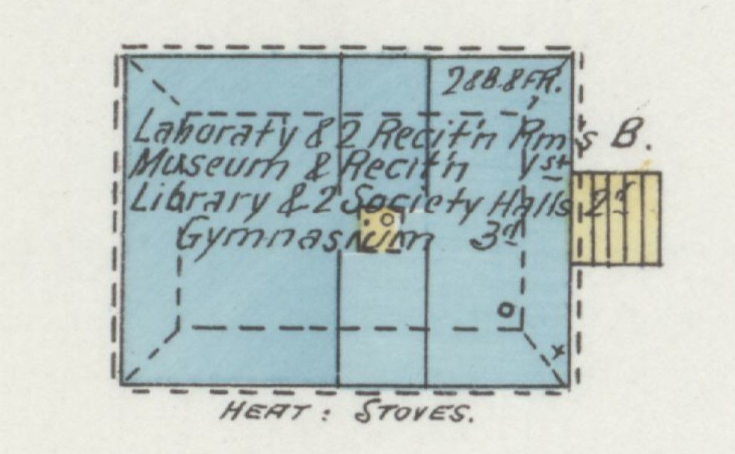 Parmenter Hall on 1893 Sanborn Fire Insurance Map of Baldwin City (p. 2)