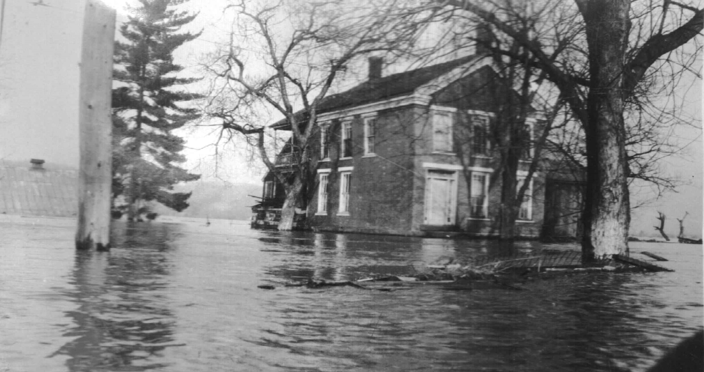The Ramsdell House during the flood of 1937.
