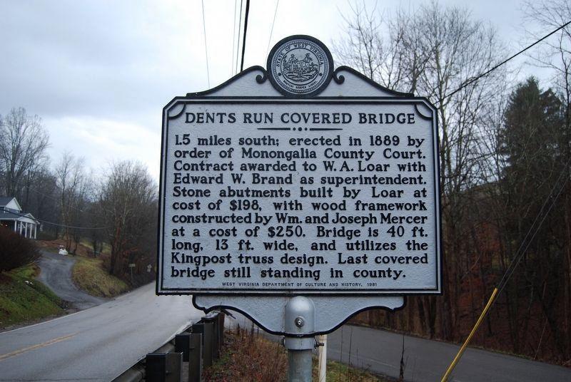Dents Run Covered Bridge historical marker