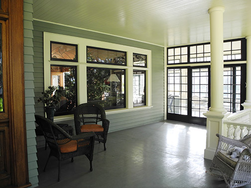 Peck-Wilson house -- the large veranda and columns are a prominent feature of the home (partially closed in now,  after a modern renovation).