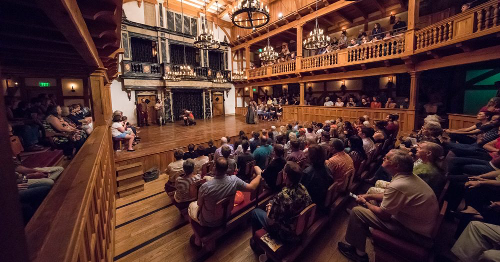 The inside of the theater is a replica of Shakespeare's original theater in England.