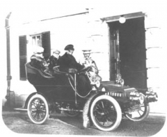 Edith Wharton motoring with Henry James and Teddy Wharton at The Mount, 1904.
