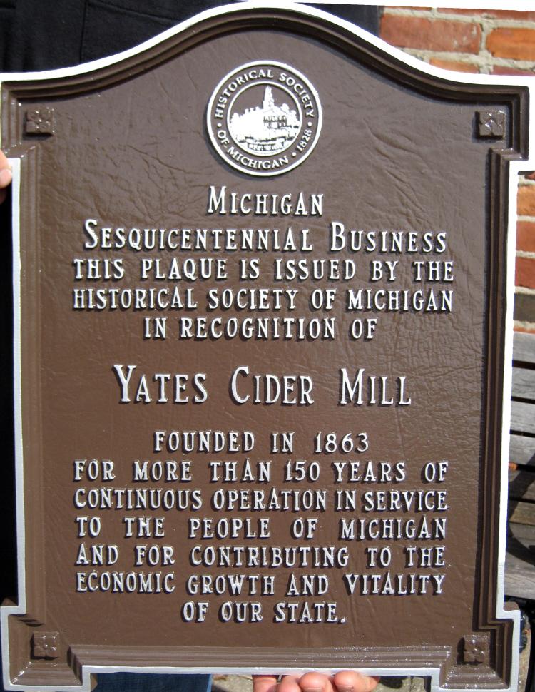 Yates Cider Mill, Michigan Milestone Plaque, 2013