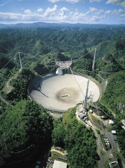 Aerial view of Arecibo Radio Telescope