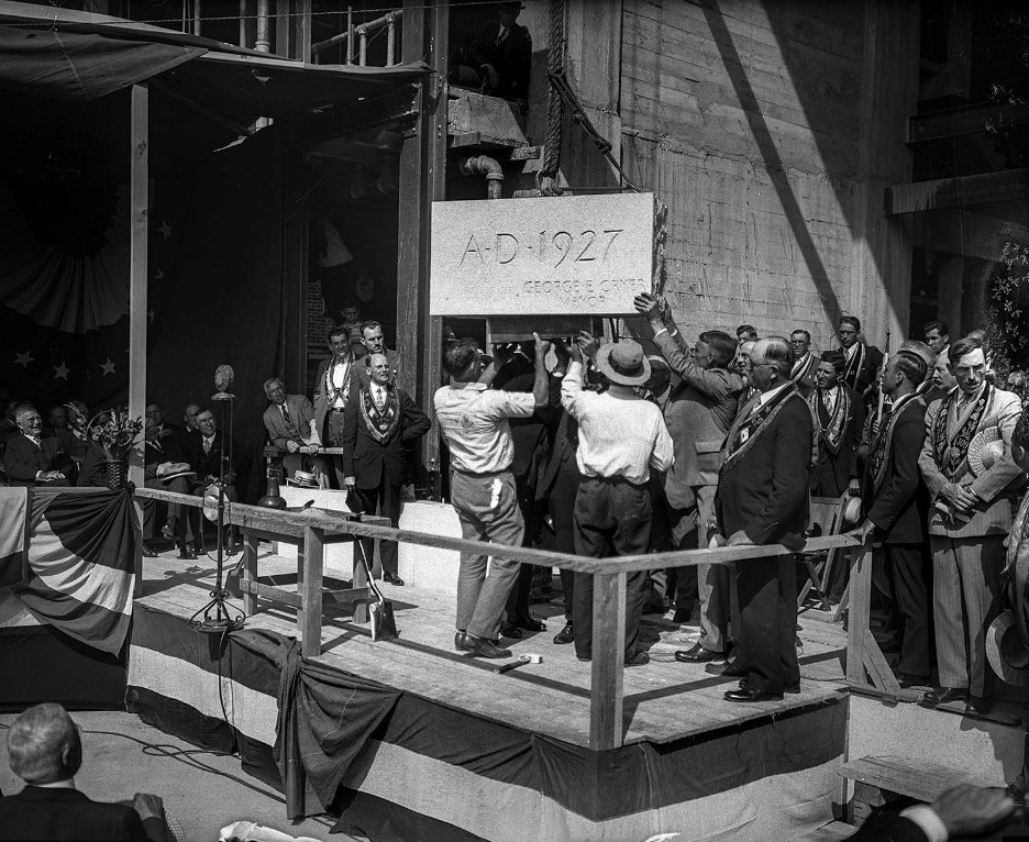 The Cornerstone for City Hall Being Laid, 1927