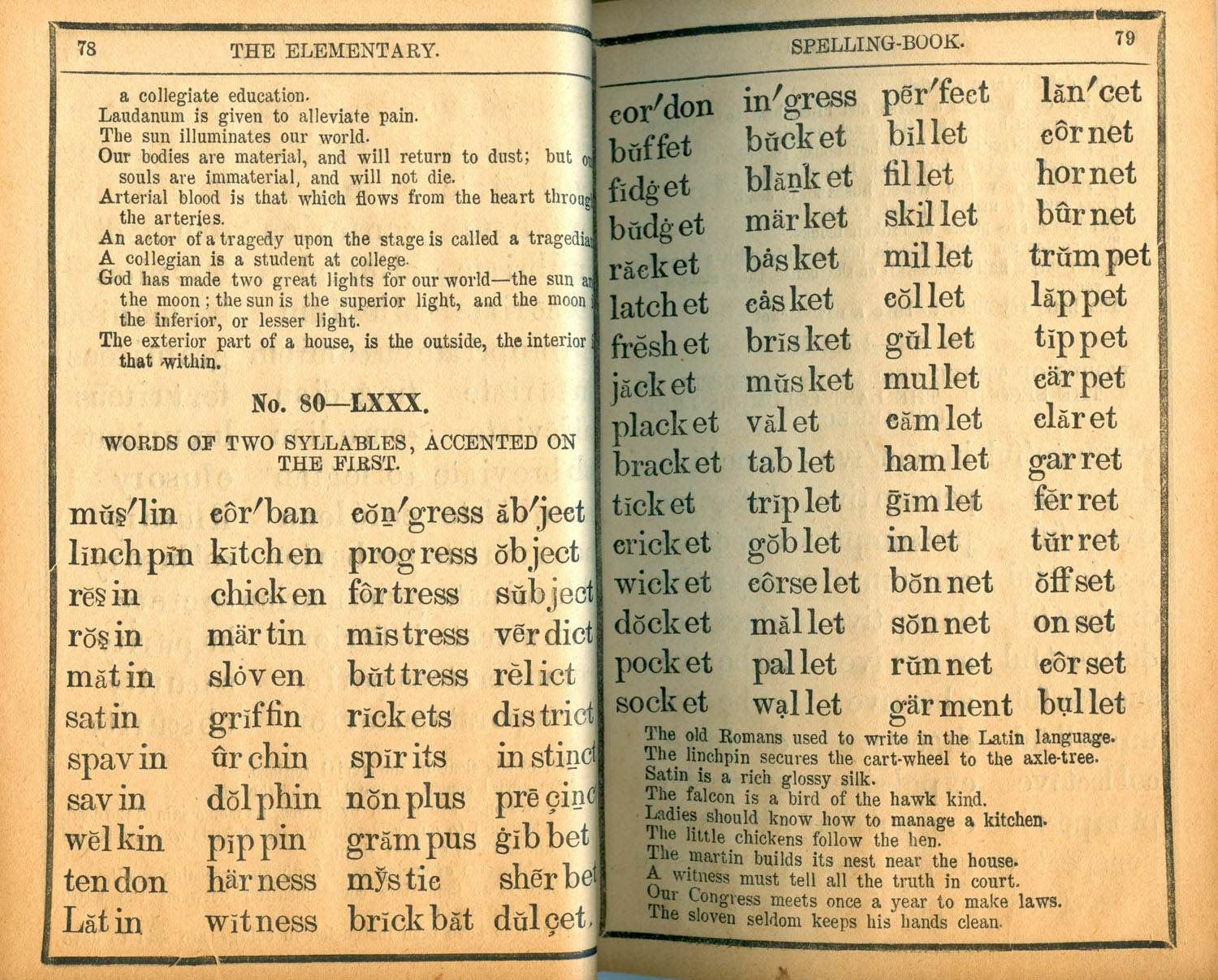A page from Webster's Blue Back Speller which sold over 100 million copies.