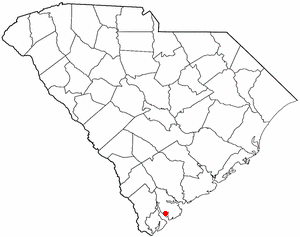 Location of the Parris Island area in the state of South Carolina.
