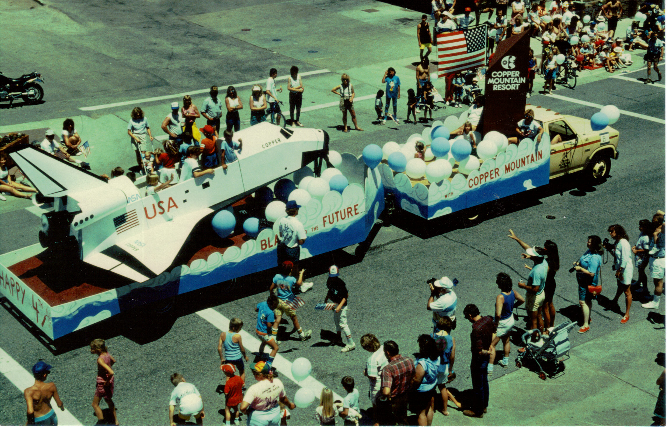 A much more recent photo of the Frisco Fourth of July parade rolling up Main Street. Despite being a small town, Frisco has maintained a robust number of fairs, festivals, and parades.