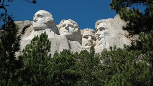 Faces of President's: Washington, Jefferson, Roosevelt and Lincoln