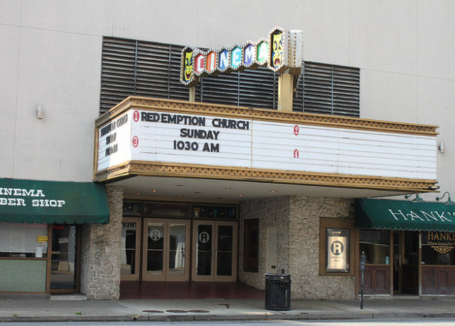 The former theater's marquee as it is today