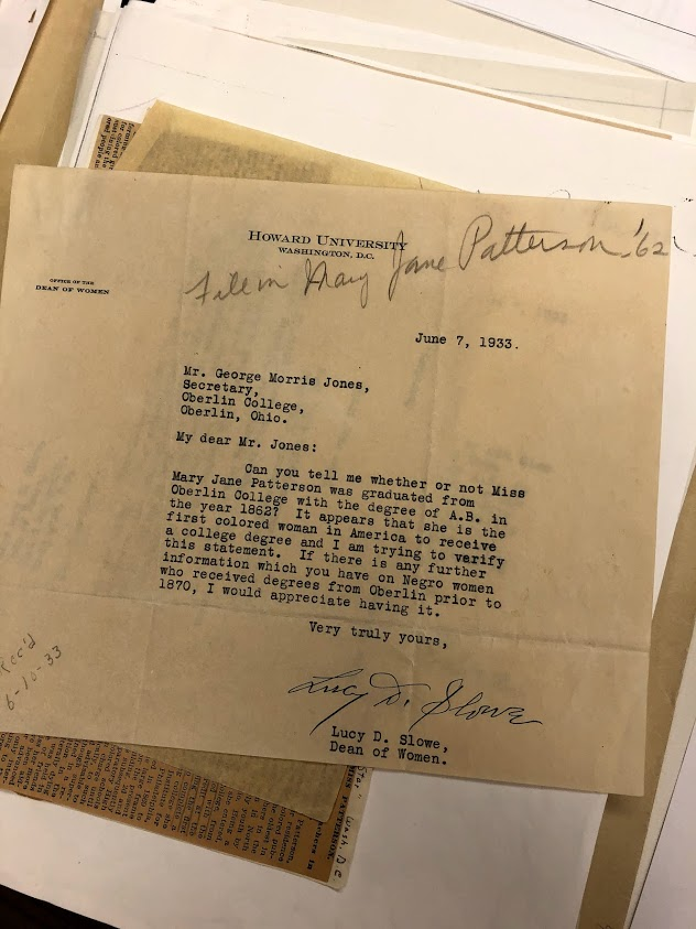 Original letter written by Lucy D. Slowe to George Morris regarding Patterson's graduation status. This letter is available in the Oberlin College Archives.