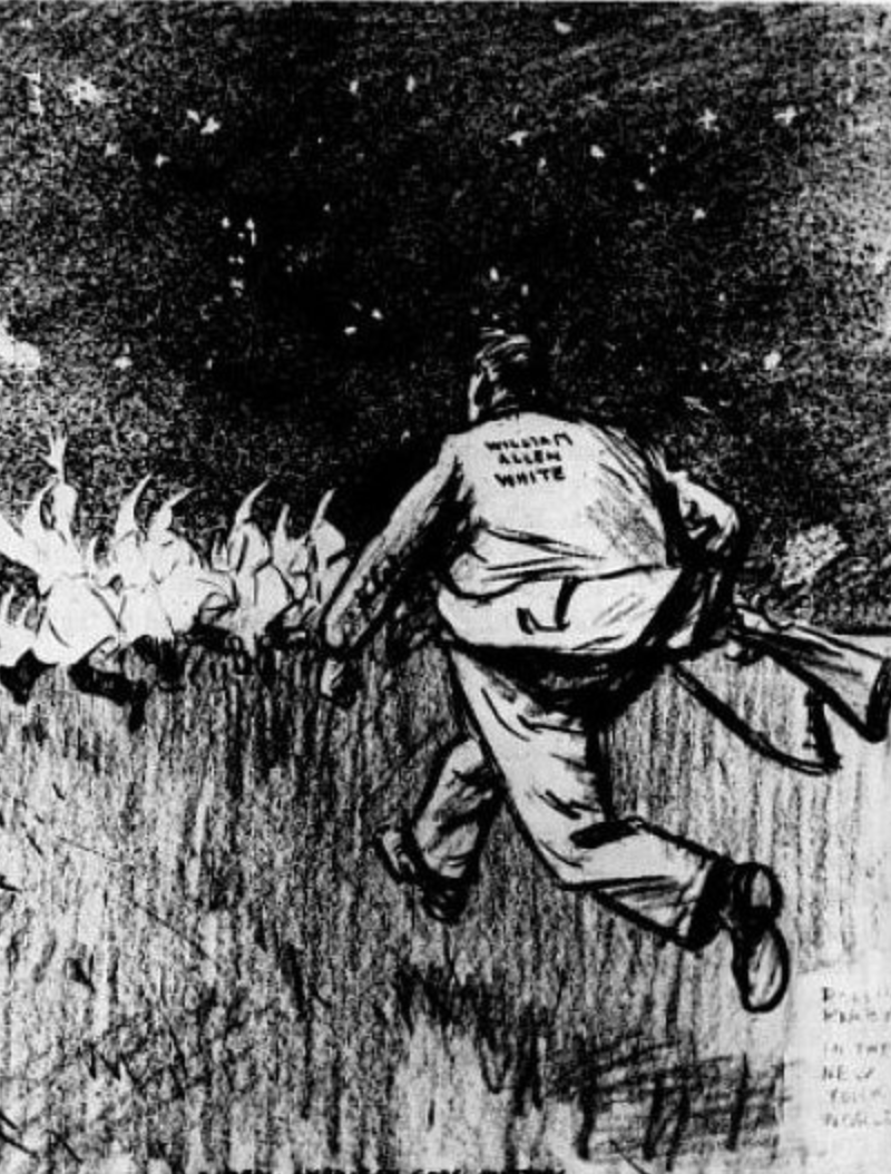 """A Real American Goes Hunting"" was drawn by Rollin Kirby and published in the New York World. This was published during Allen's campaign for governor when his stance was anti-Klan"