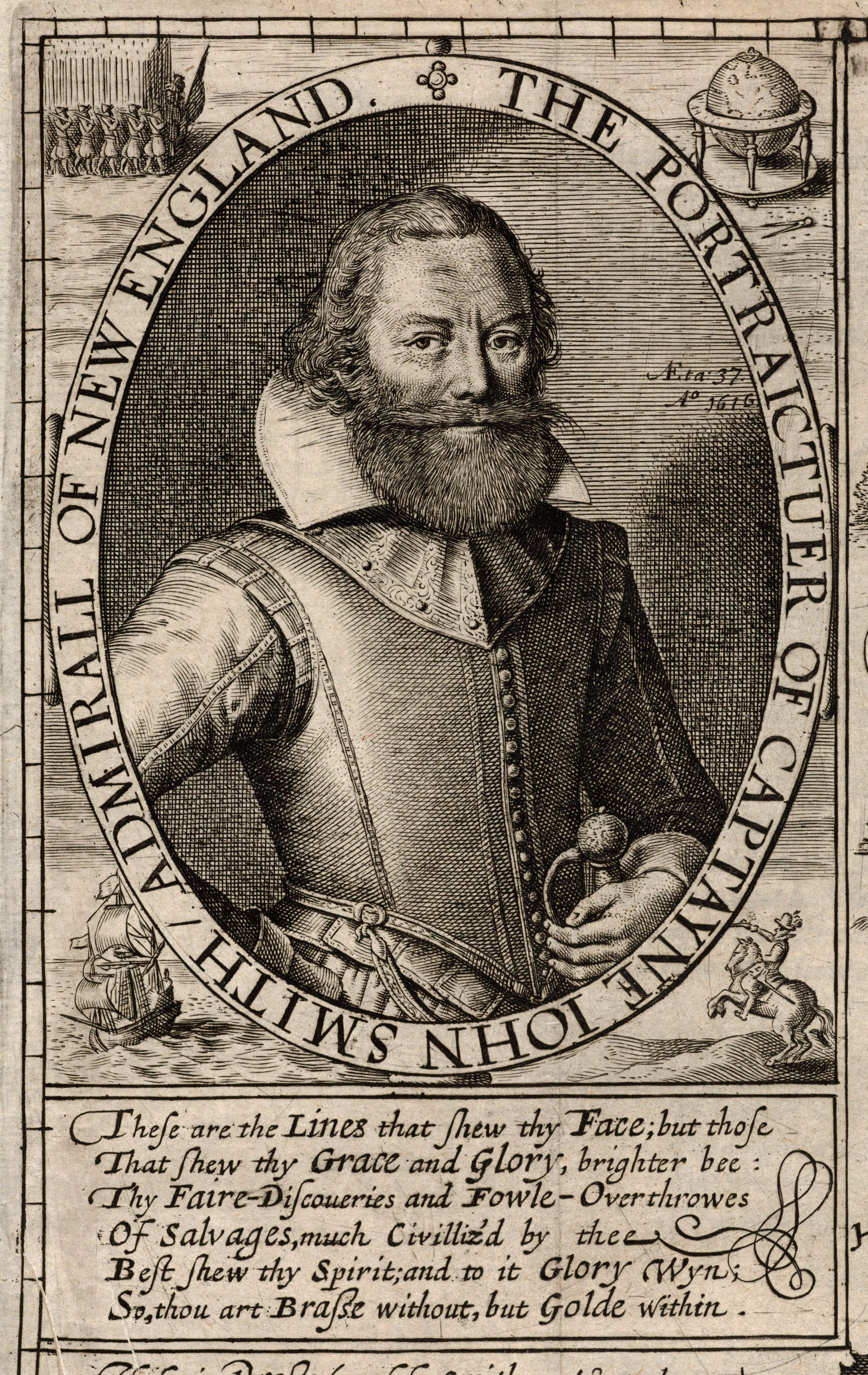 "Engraving of Captain John Smith, in his book ""The Generall Historie of Virginia, New England, and the Summer Isles,"" 1624 (public domain)"