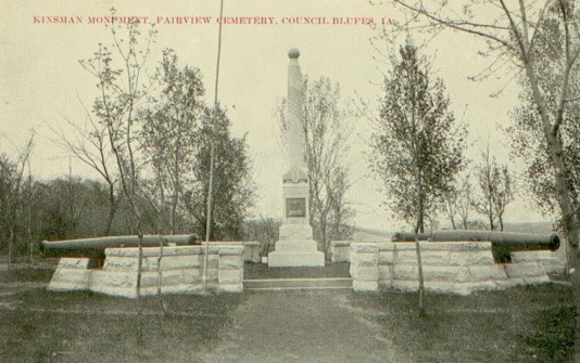 Old and Undated Photograph of the Kinsman Civil War Monument. Shows a ball at the top of the monument that is not there today.