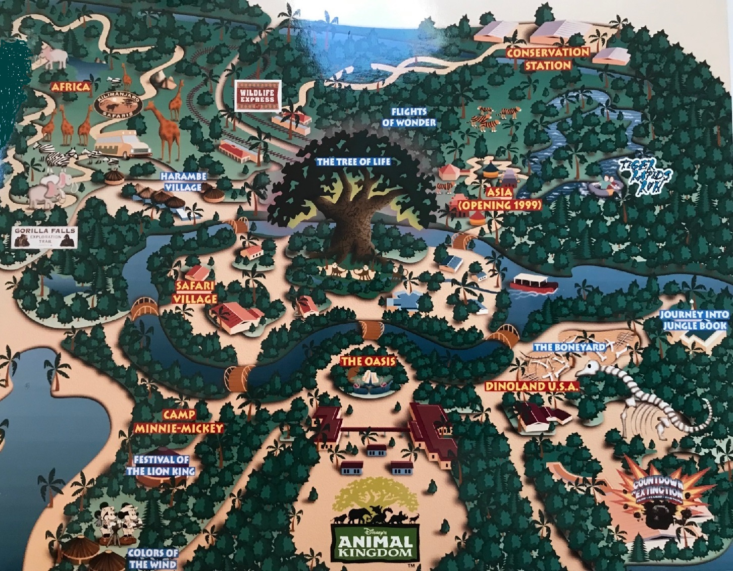 Original 1998 Disney's Animal Kingdom Map