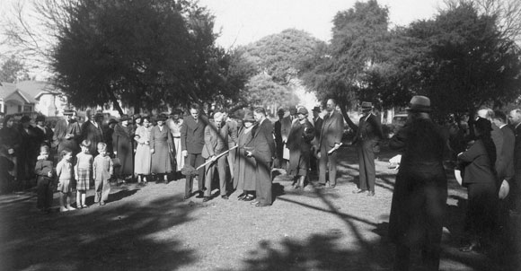 Groundbreaking with Mayor Ament at the Berkeley Public Library (July 21, 1936)