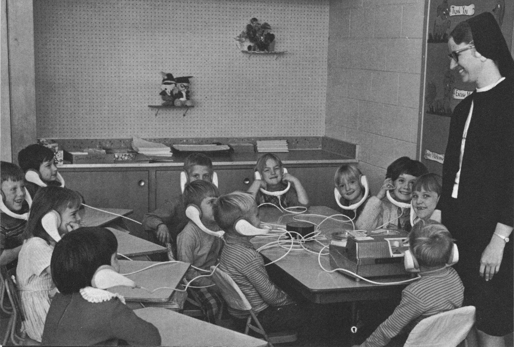 Students in the learning center at St. Louis School, c. 1970.