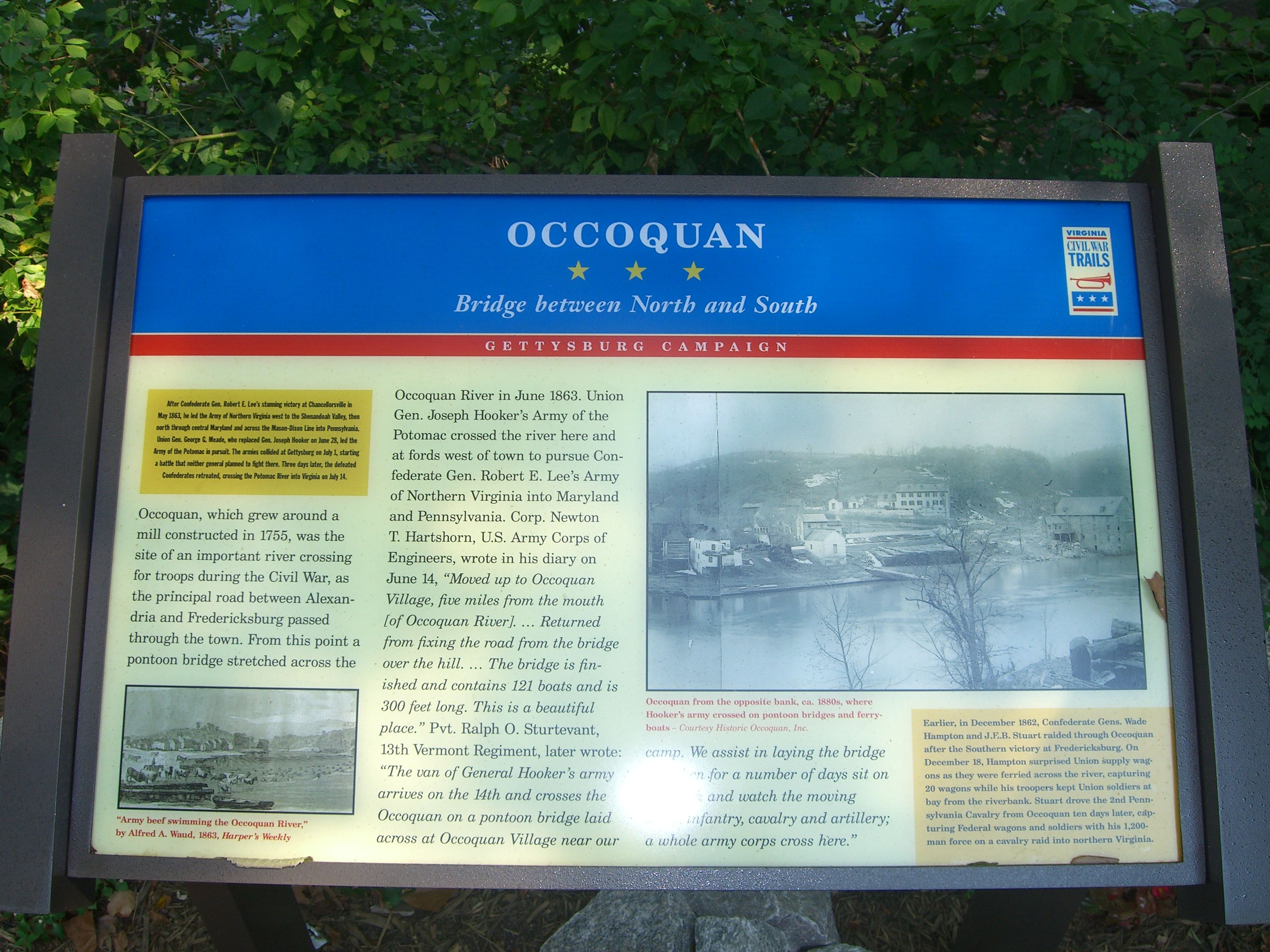 """Occoquan: Bridge between North and South"" Civil War Trails Marker at the Mill House"