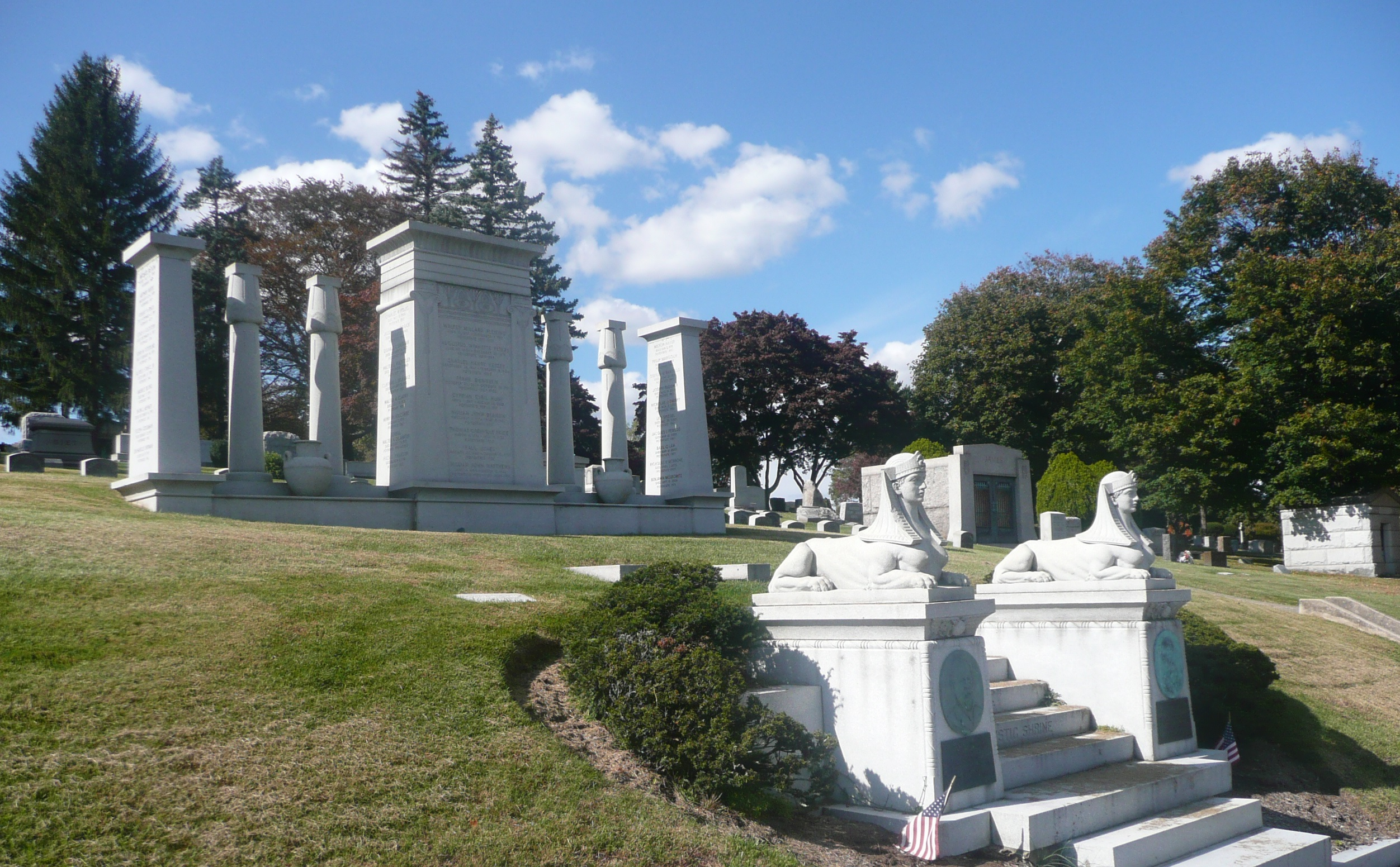 The plot at Kensico Cemetery belonging to Mecca Temple, Ancient Arabic Order of the Nobles of the Mystic Shrine.