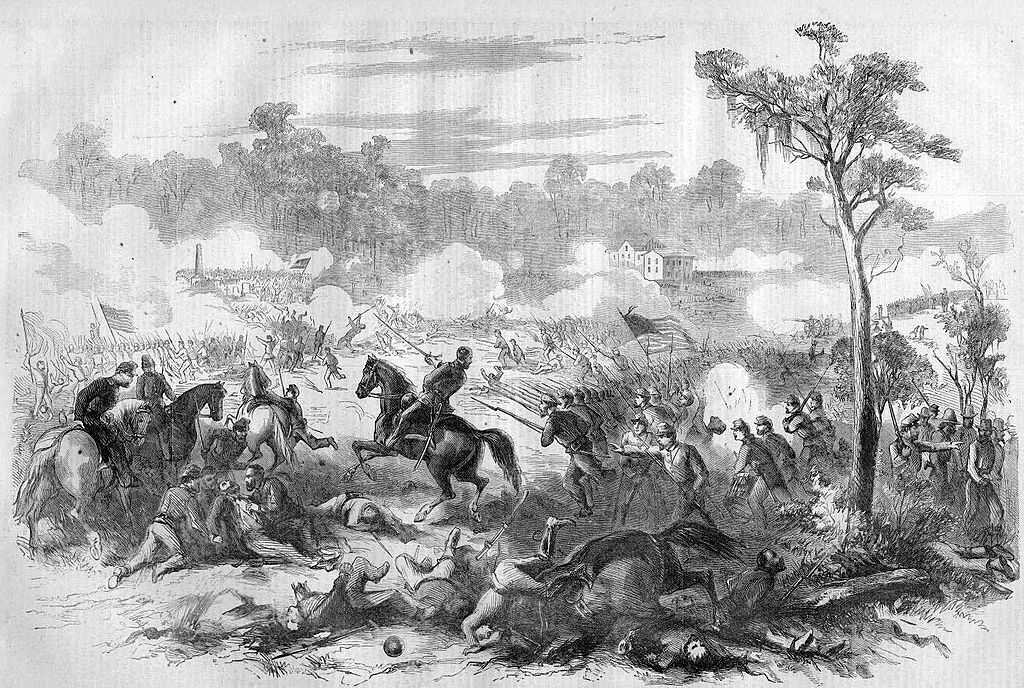 A line engraving of the battle published in Harpers Weekly