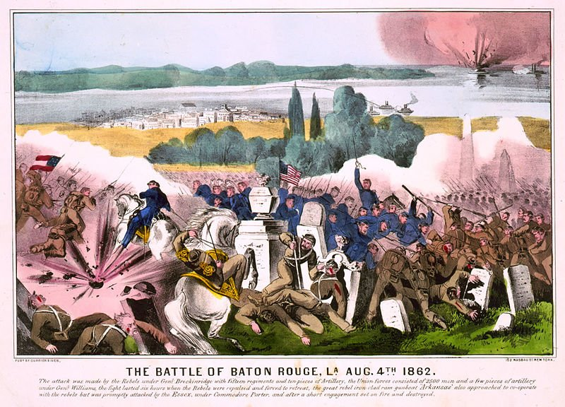 A colored print of the Battle of Baton Rouge