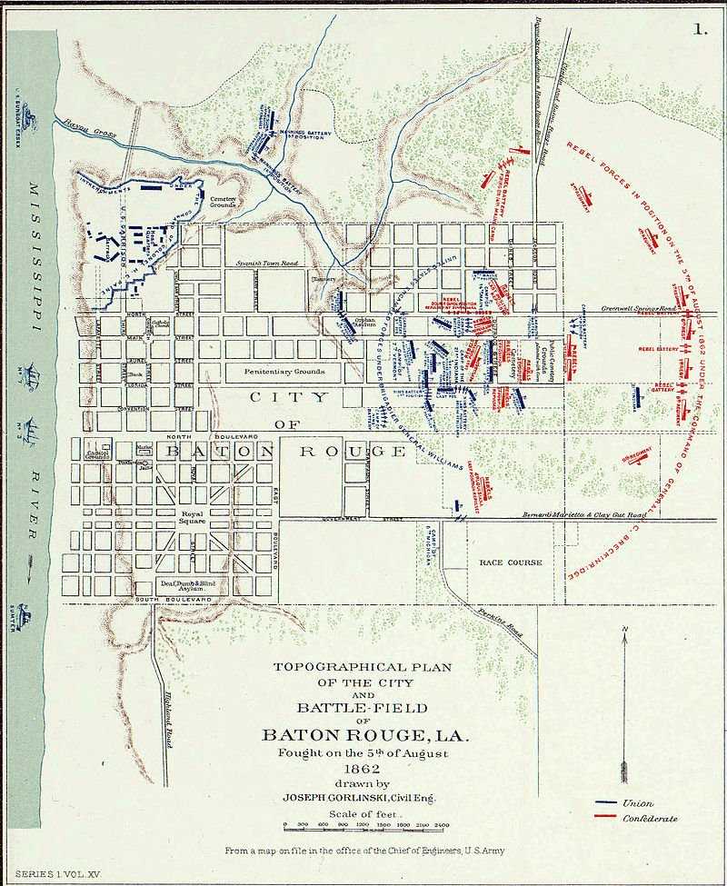 Map of the Battle of Baton Rouge