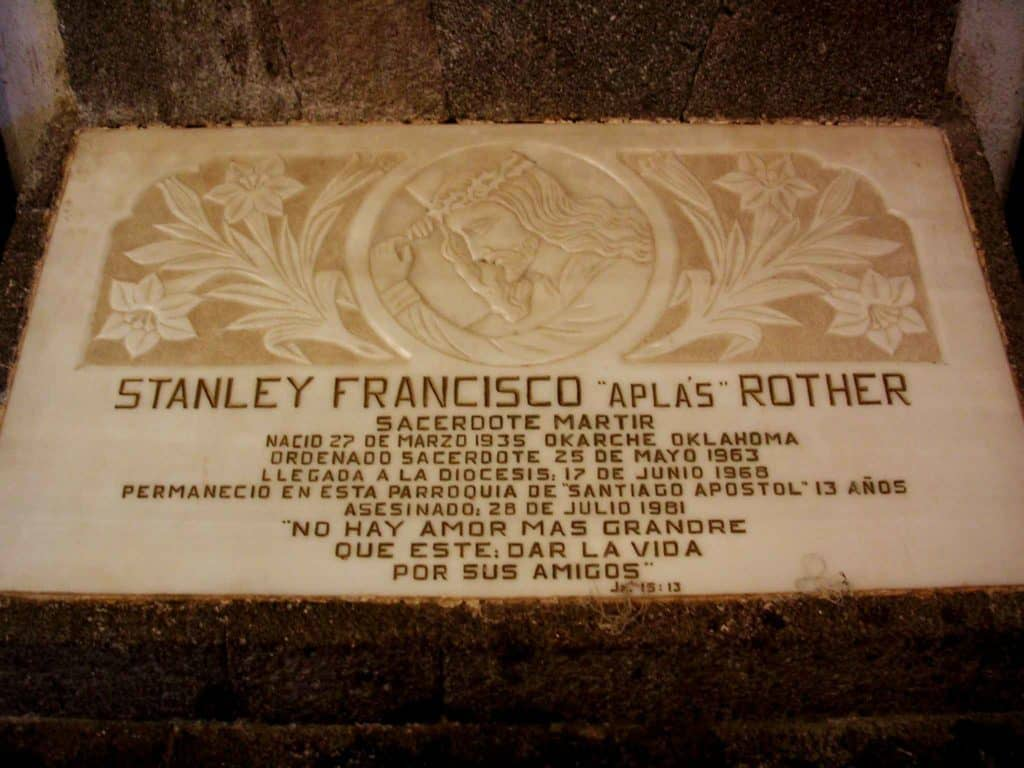 Plaque in Guatemala near Rother's buried heart