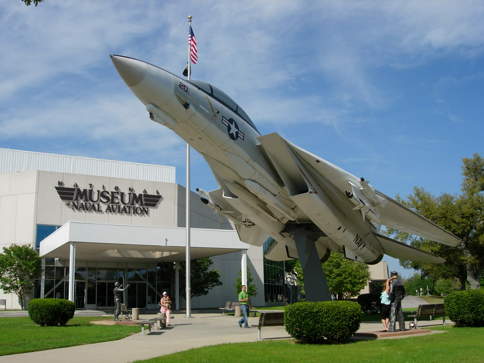 Visitors to the National Naval Aviation Museum are greeted by a F-14A Tomcat. The museum offers free admission and parking.