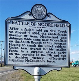 A sign that discusses the Battle of Moorefield.
