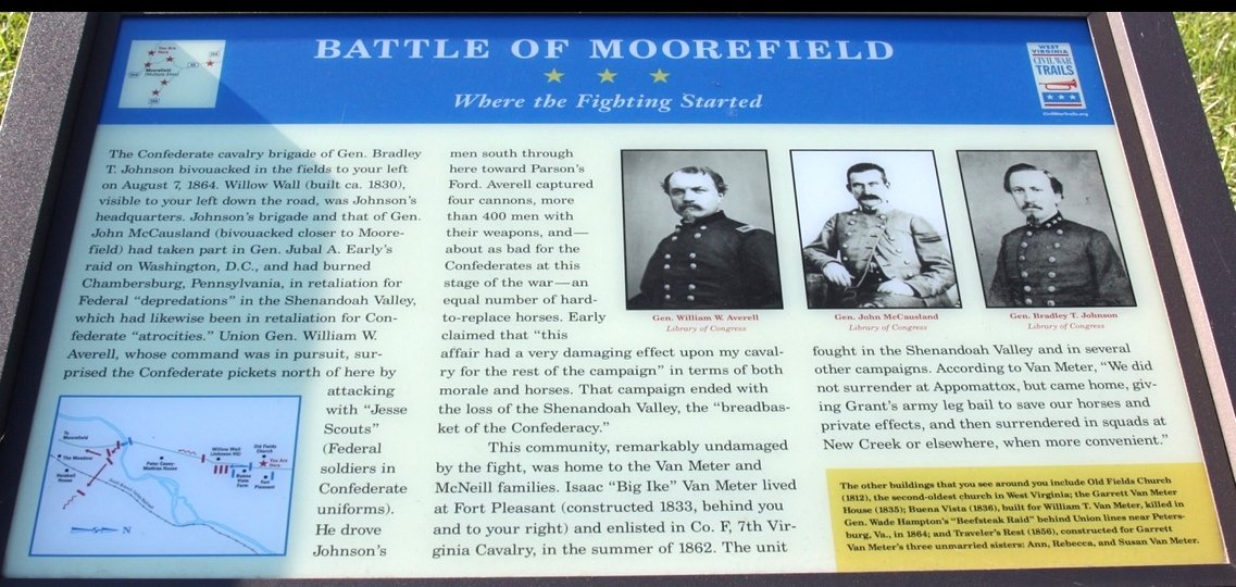A plaque that talks about the Battle of Moorefield.