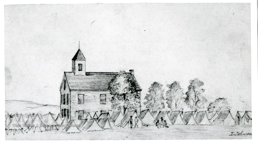 Drawing of the Federal camp at Beverly in 1861.