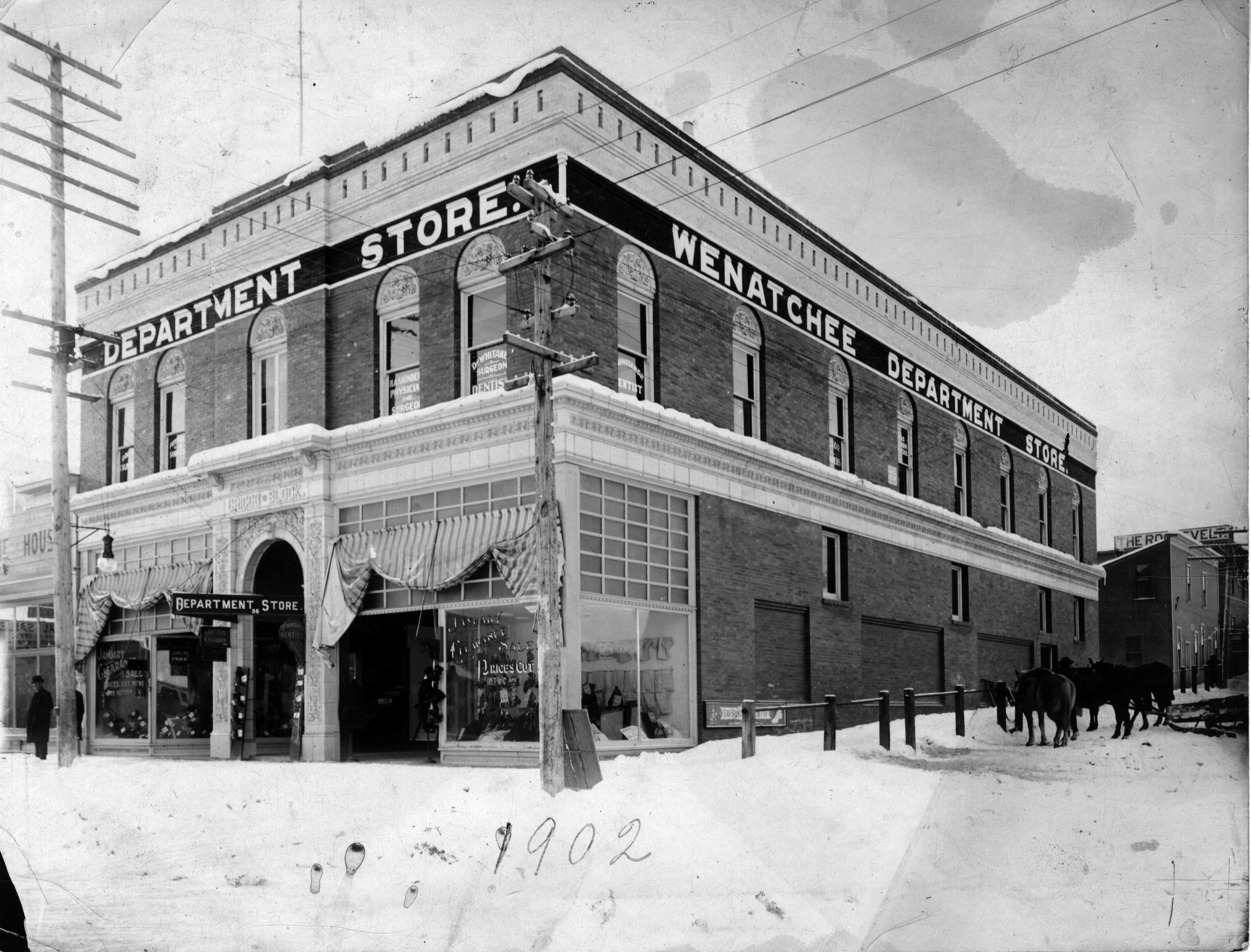 "Photo of the Griggs Building in winter.  The photo bears a hand written label ""1902"" but the building wasn't completed until 1903."