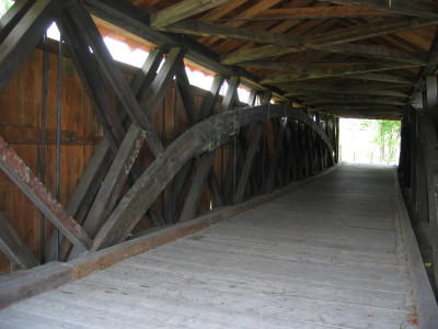 Interior view of the bridge with the Howe trusses visible