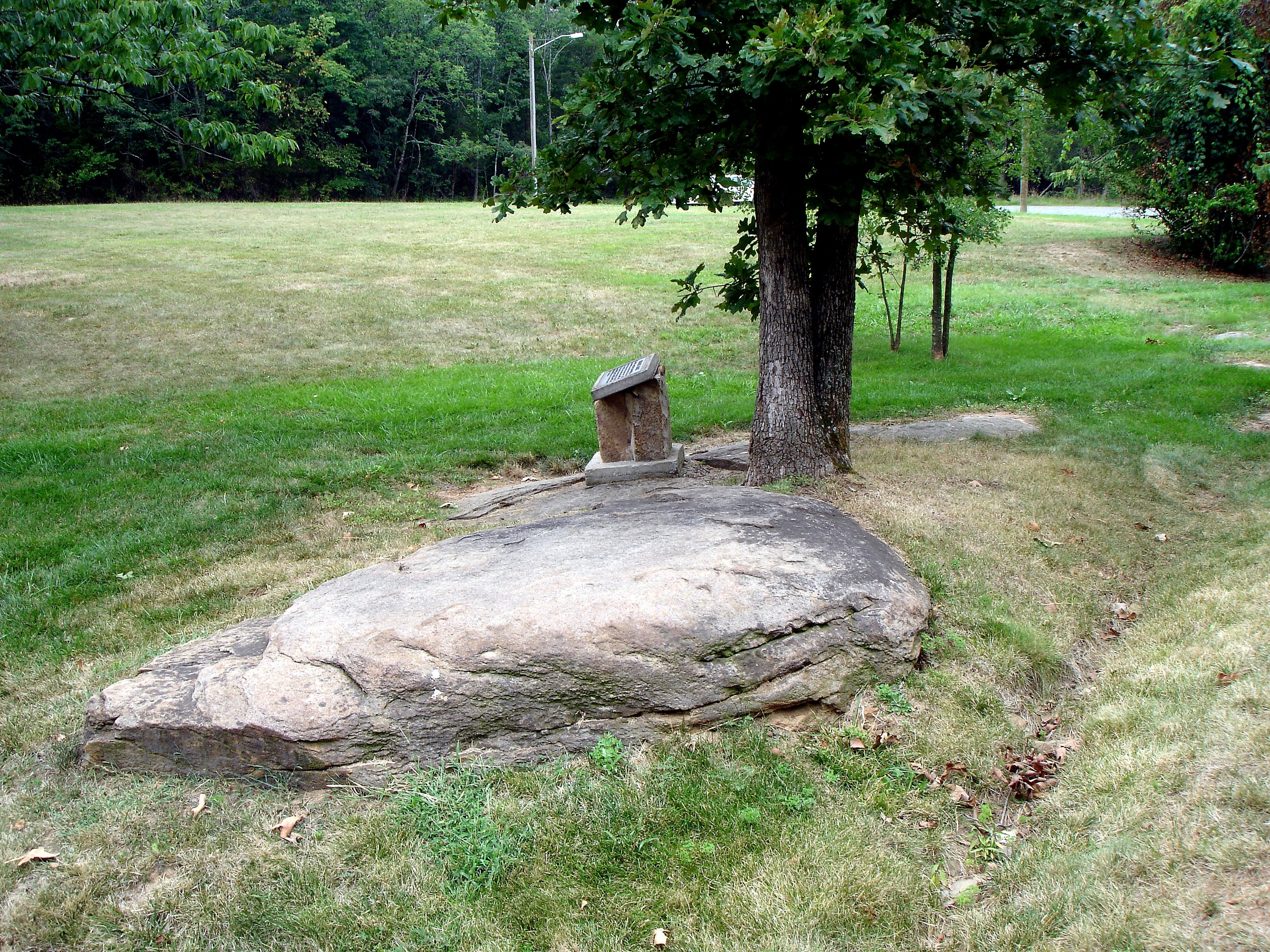Mosby's Rock, which Laura Ratcliffe and Col. John S. Mosby used for meetings and as a drop site to exchange information - located between two townhouses across from Mt. Pleasant Baptist Church's overflow parking lot