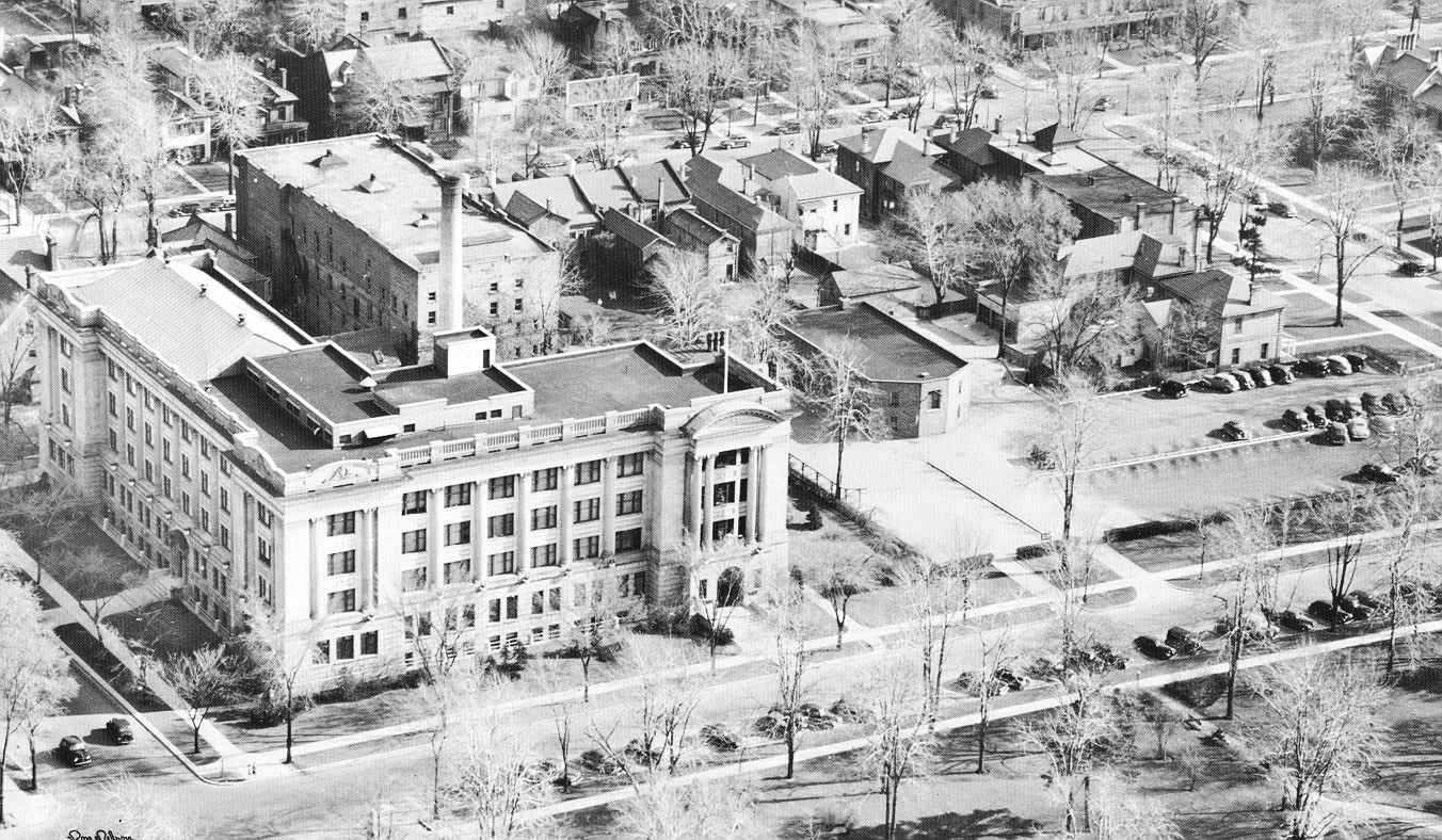 Aerial view of London Life Head Office on Dufferin Ave as it appeared in 1945