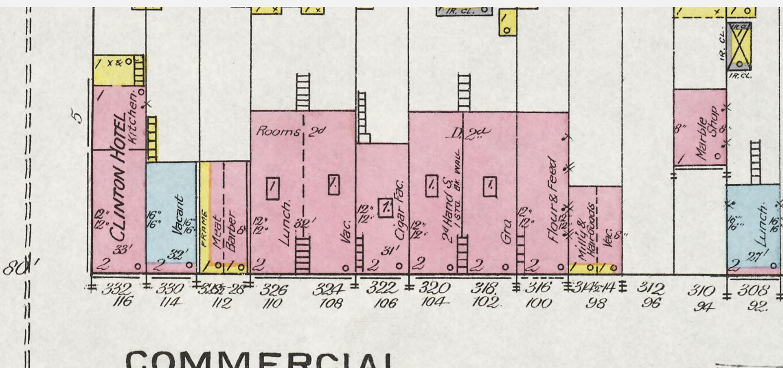 Moore's Block at 324-326 Commercial Street on 1893 Sanborn map (p. 9)