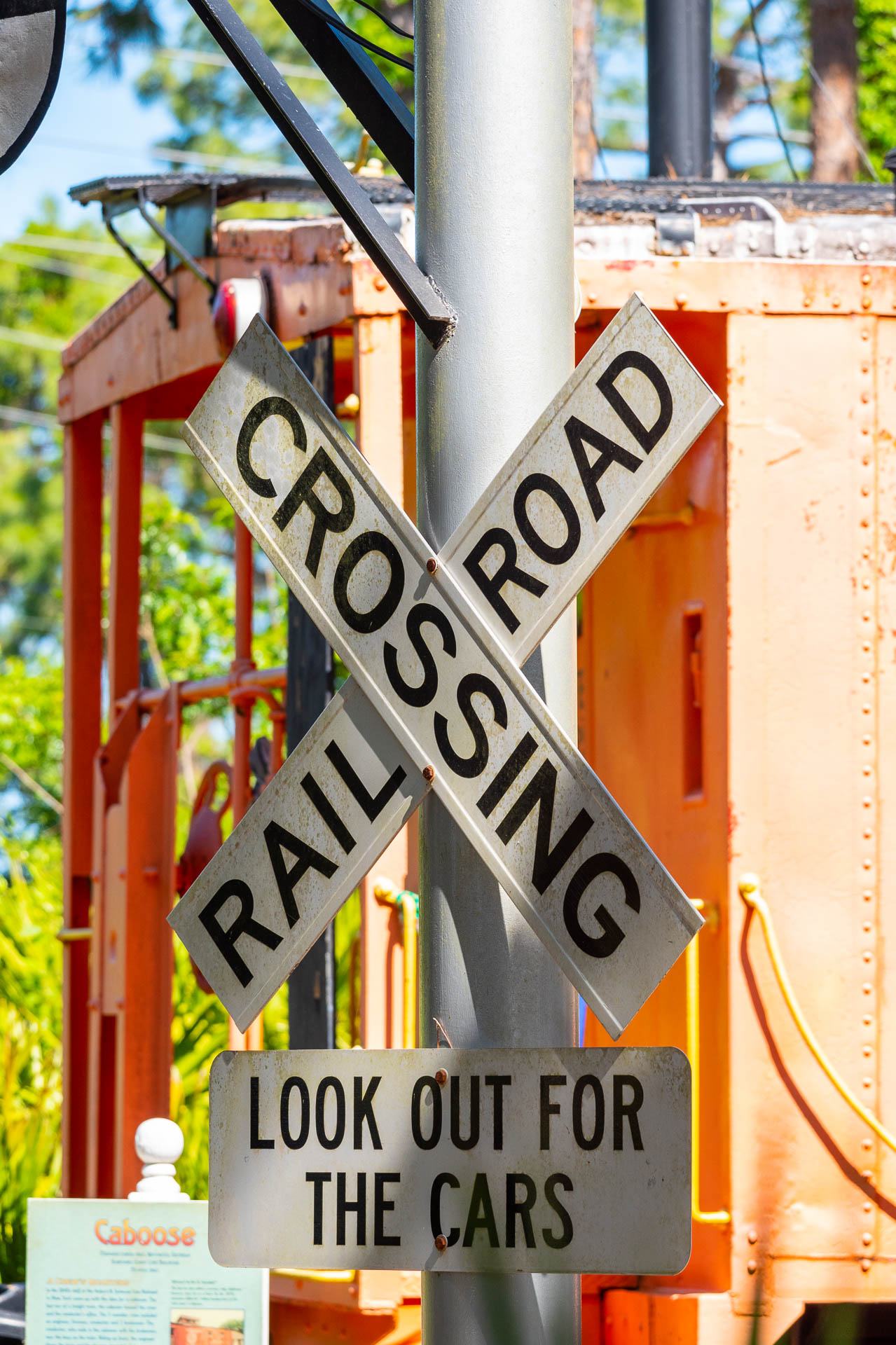 Railroad Crossing Sign outside the Sulpher Springs Train Depot