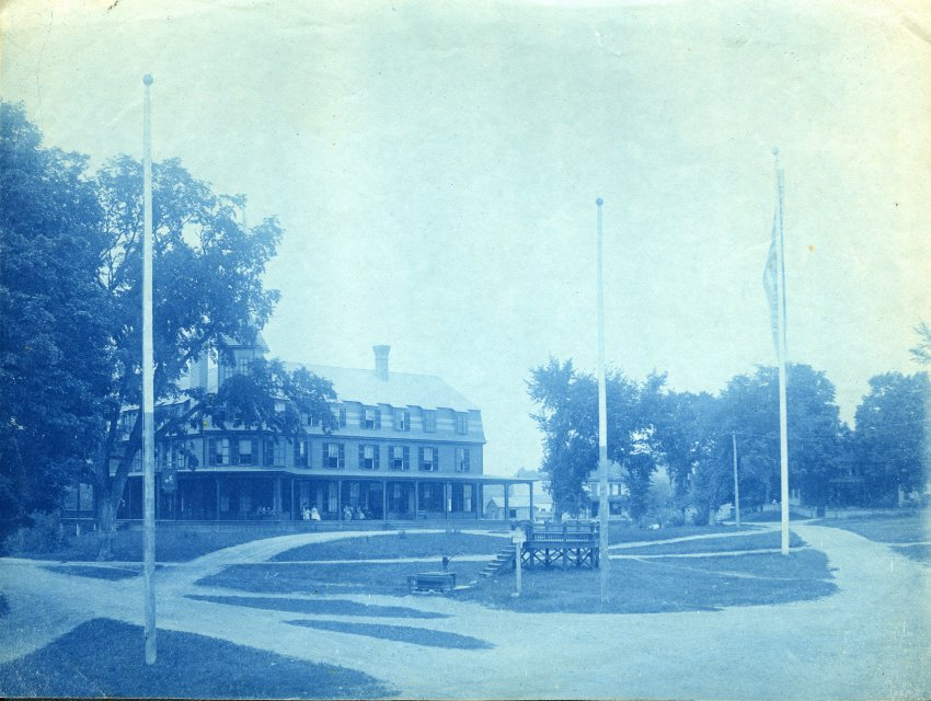 Cyanotype of Perkins Inn that was located in Hopkinton Village.