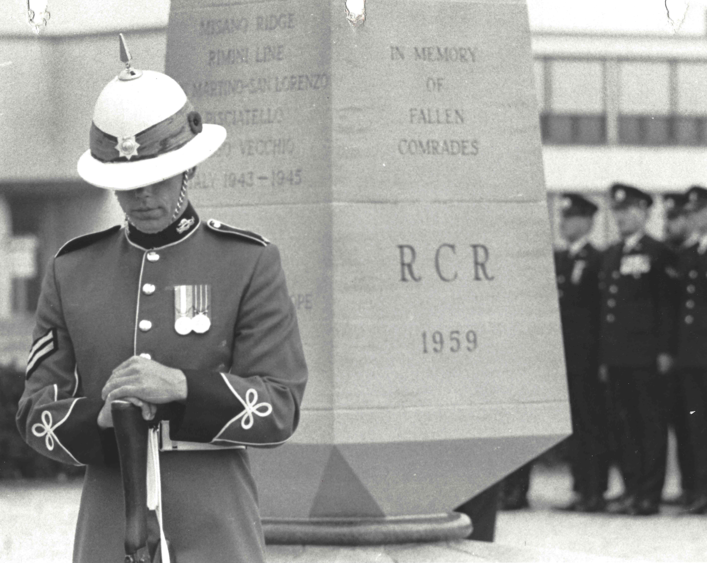 Standing Guard at the Regimental Memorial