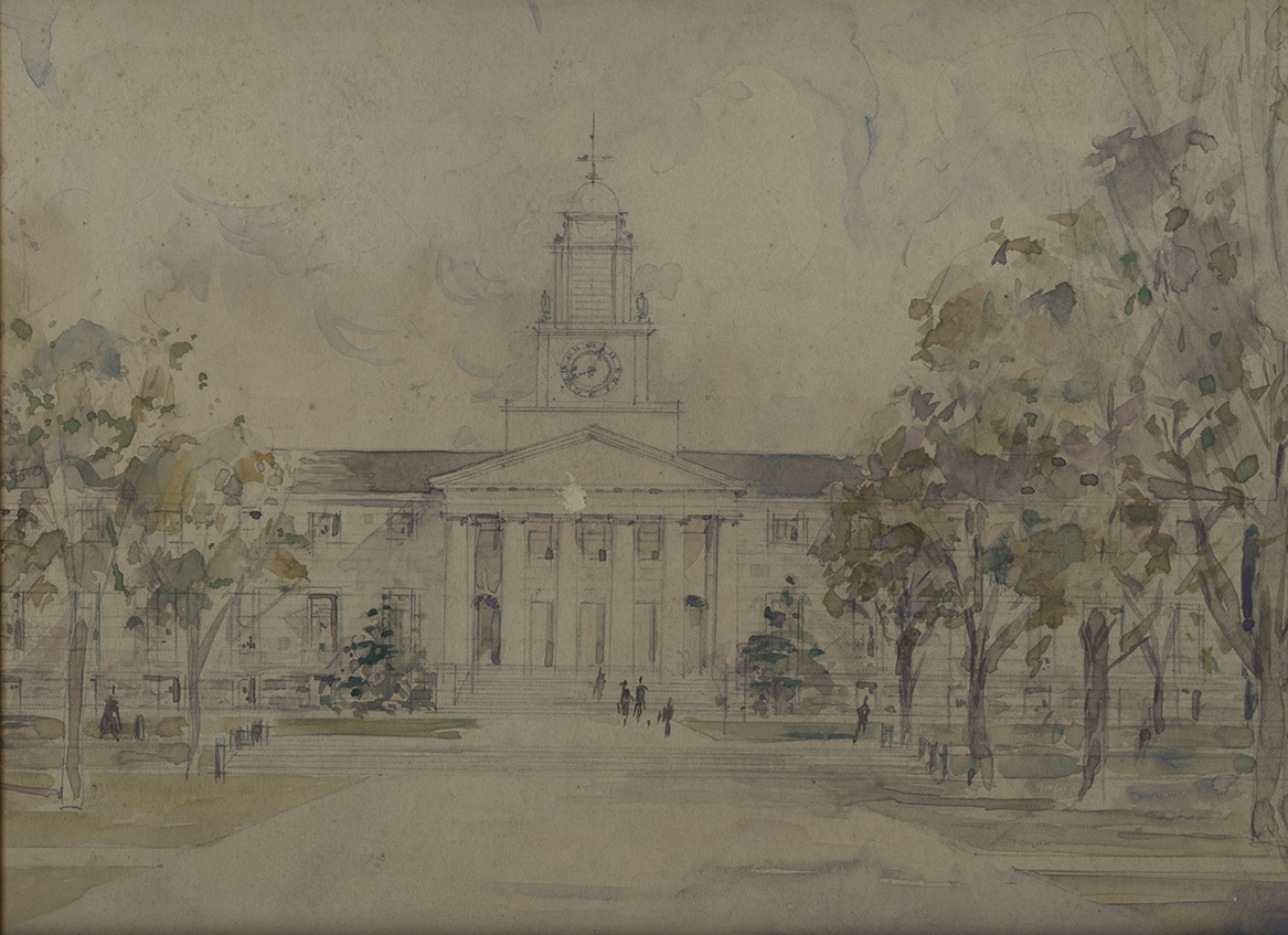 Samuel Phillips Hall. Sketch of proposed design by Guy Lowell, 1921