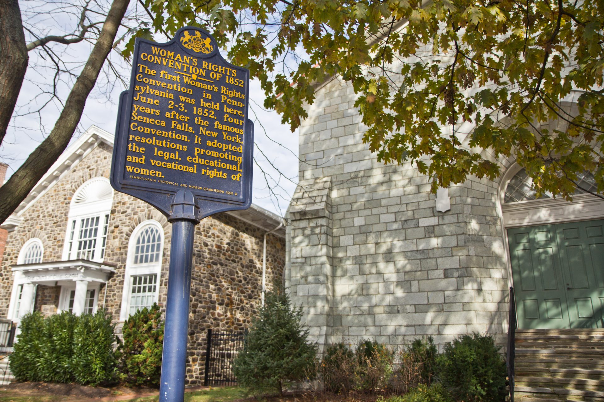 The historical marker of the Woman's Rights Convention of 1852 is located outside the Chester County Historical Society.