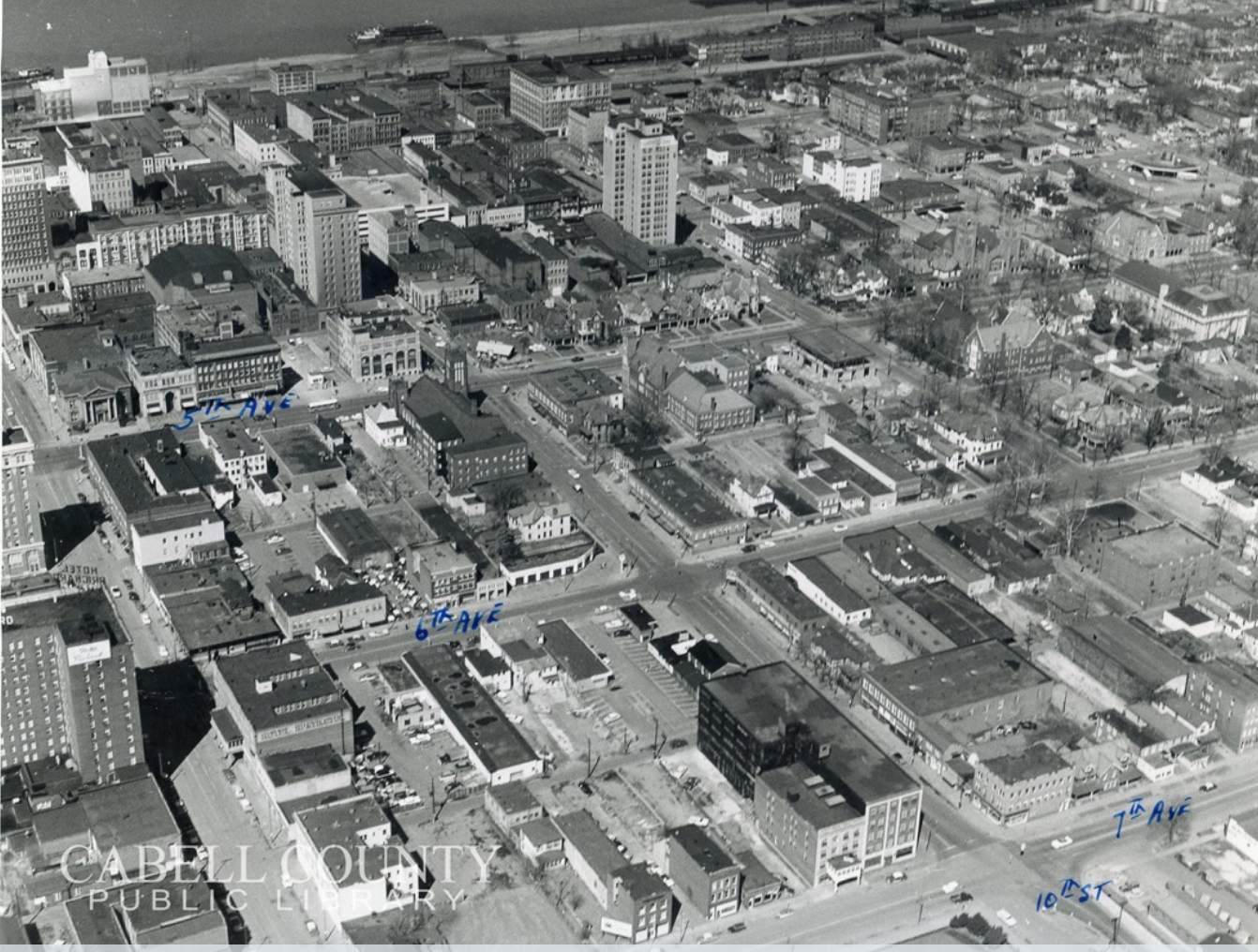 Aerial view of downtown Huntington, with the mill visible at the top left