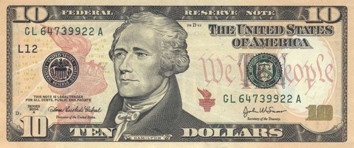 Alexander Hamilton's influence can be seen today in images such as his face on the ten-dollar bill.