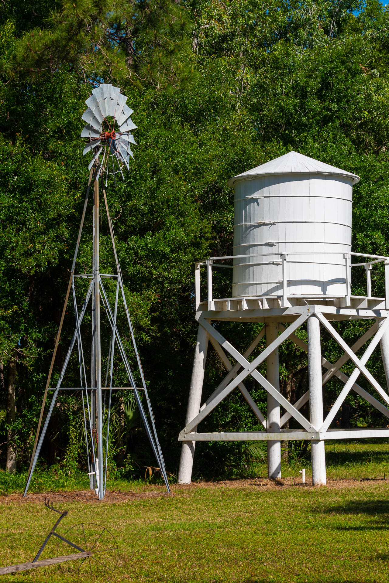 Windmill and Water tower, behind the Moore House