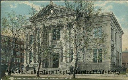 Postcard of the library, circa 1916