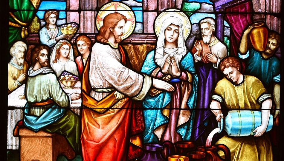 stained glass, the wedding scene at the San Francisco Columbarium