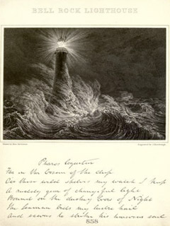 "Bell Rock Lighthouse, Scotland, built in 1811 by Robert Louis Stevenson's grandfather, the subject of a biographical work of non-fiction by RLS titled ""Records of a Family of Engineers"" (1896)"