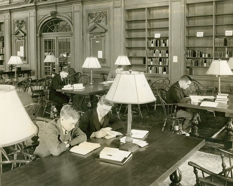 Oliver Wendell Holmes Library, Garver Room, 1933. Photograph by George H. Davis