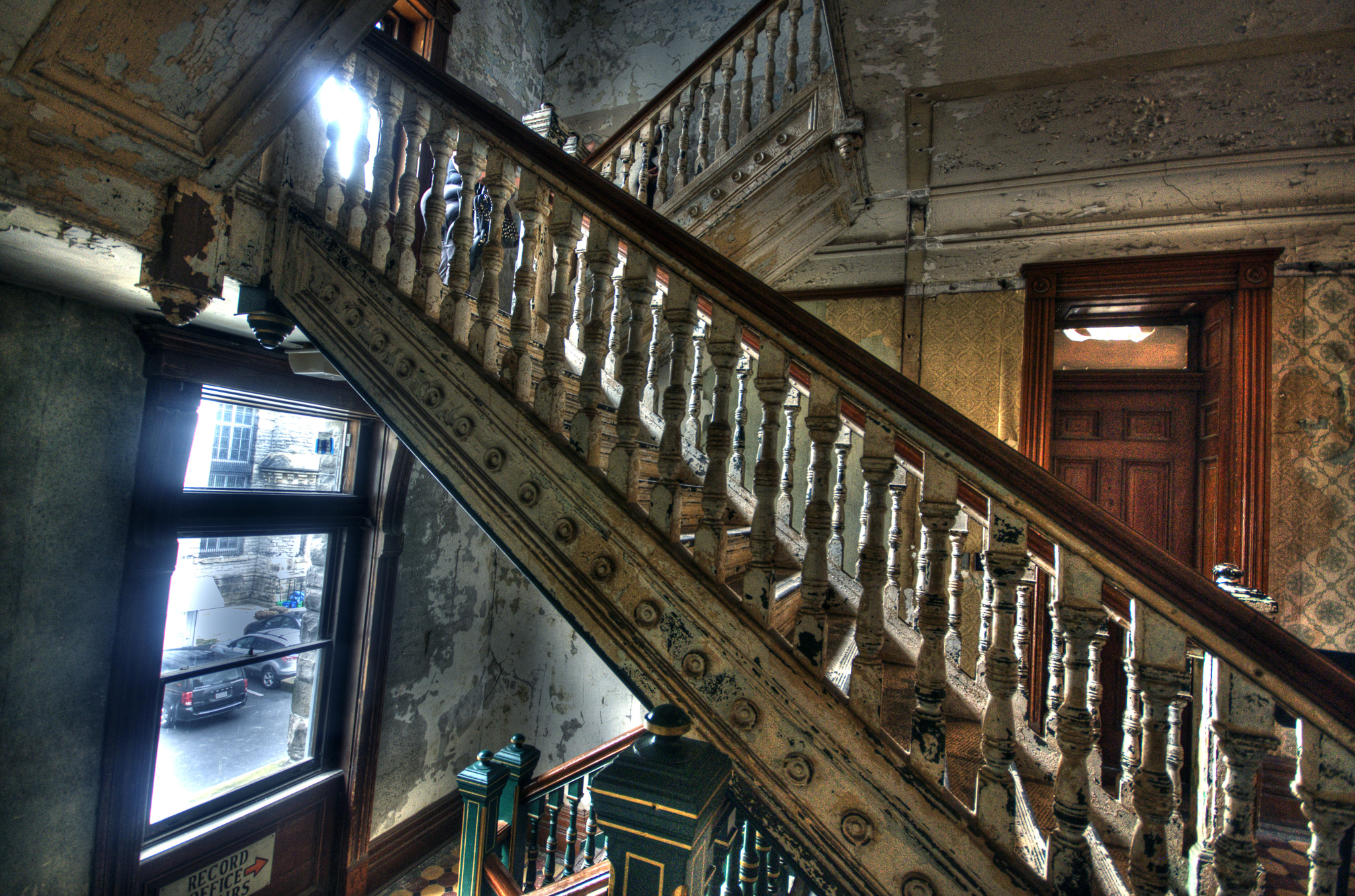 Steel staircase in the interior of the Ohio State Reformatory