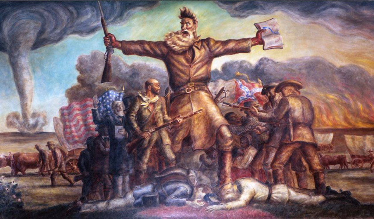 """Tragic Prelude"" a painting by artist John Steuart Curry depicting John Brown at the center of the Bleeding Kansas clashes"